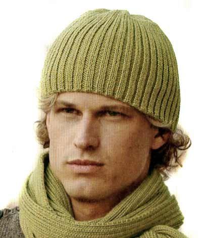 Вяжем спицами шапки мужские