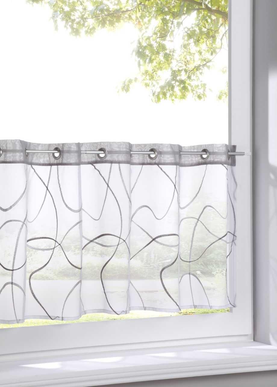 Schmuckende Fensterdekoration Fur Dein Kleinfenster Weiss Grau Osen Scheibengardine Kleine Fenster Gardinen