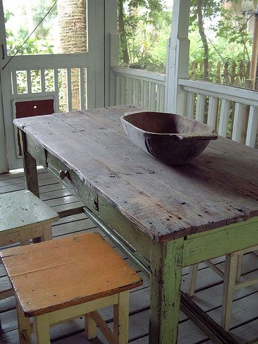 Table and dough bowl