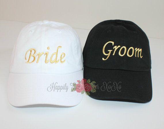 Bride and Groom Baseball Cap by HappilyEverAfterXOXO on Etsy dfc412cb1c87