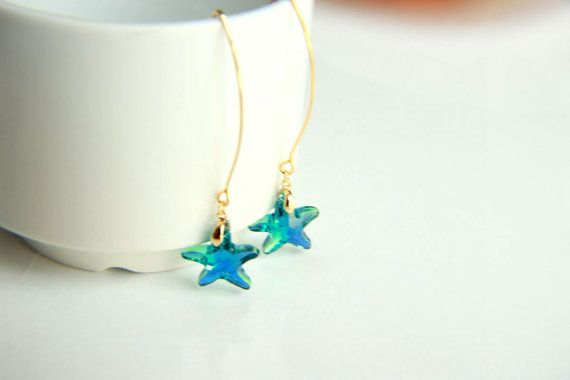 Earrings: Gold plated brass earring hooks with blue star swarovski crystal, earrings hooks gift for  wedding valentine's mother's day dangle