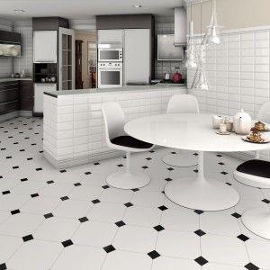 White Floor Tiles In Kitchen