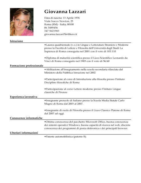 Modello Curriculum Vitae Maestro Esempio CV Insegnante