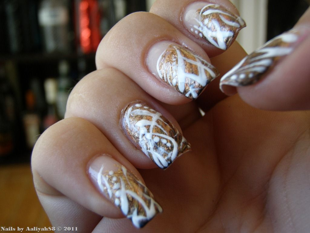 gold Nail Designs | Brown Gold & White Nails - Gold Nail Designs Brown Gold & White Nails Nail Art