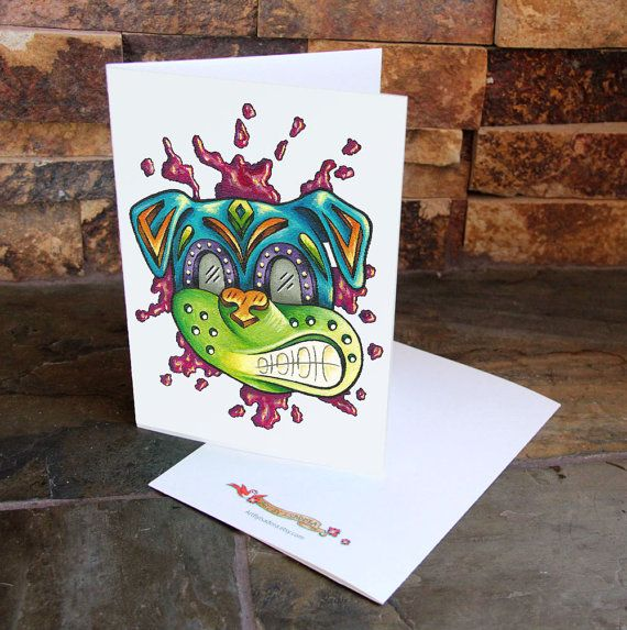 Blank Note Cards with New School Dog Tattoo Art by ArtByIsadora