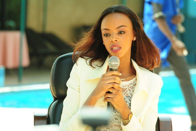 Miss Rwanda 2016 at the press conference for Miss Rwanda 2017