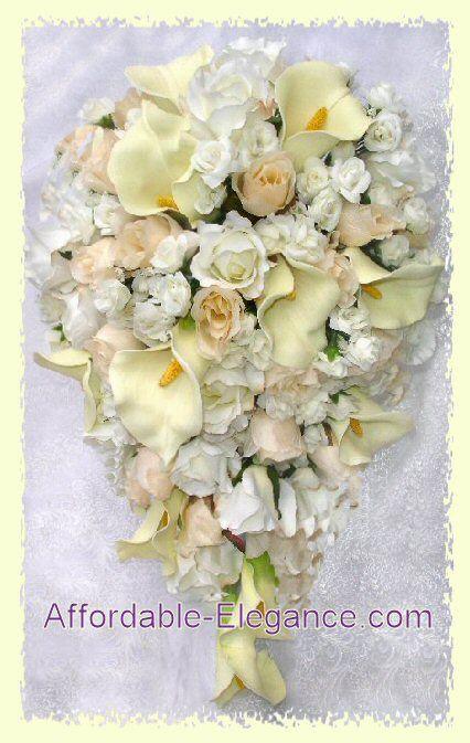 IVORY CREAM Wedding Set Silk Flowers Bridal Bouquets Cascade Roses Calla Lily