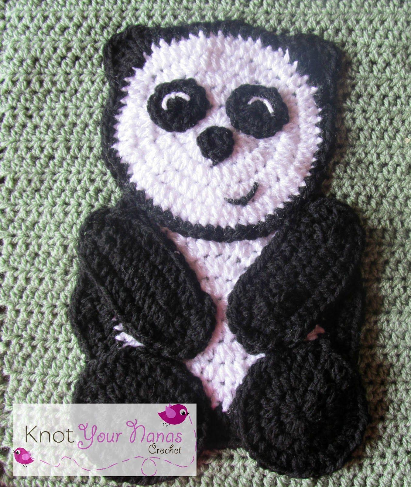 Crochet Panda Applique | Granny Square | Pinterest | Crochet panda ...