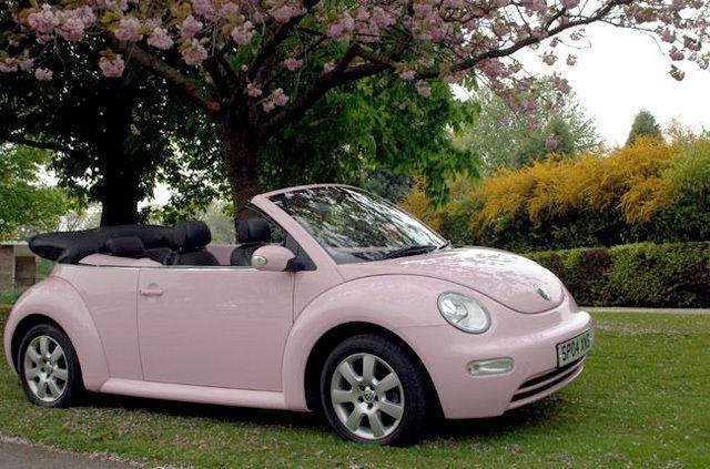 light pink vw beetle   vintage and retro   beetle convertible, cute