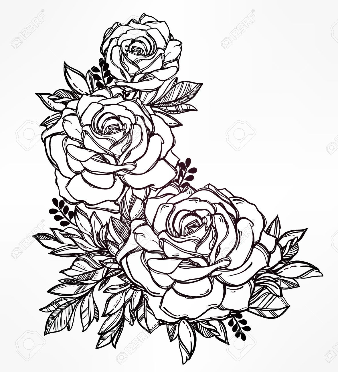Line Art Tattoo Artists Near Me : Vintage floral highly detailed hand drawn rose flower stem