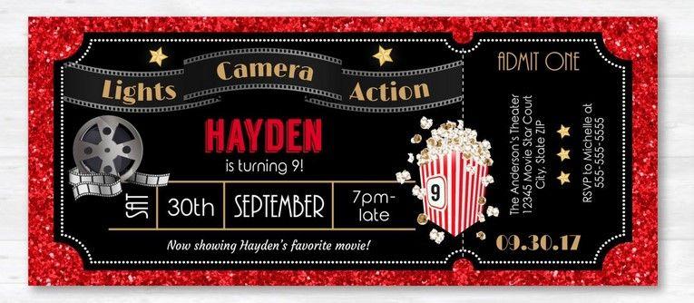 Free Printable Movie Ticket Party Invitation Template Drevio Movie Ticket Invitations Movie Party Invitations Ticket Party Invitations