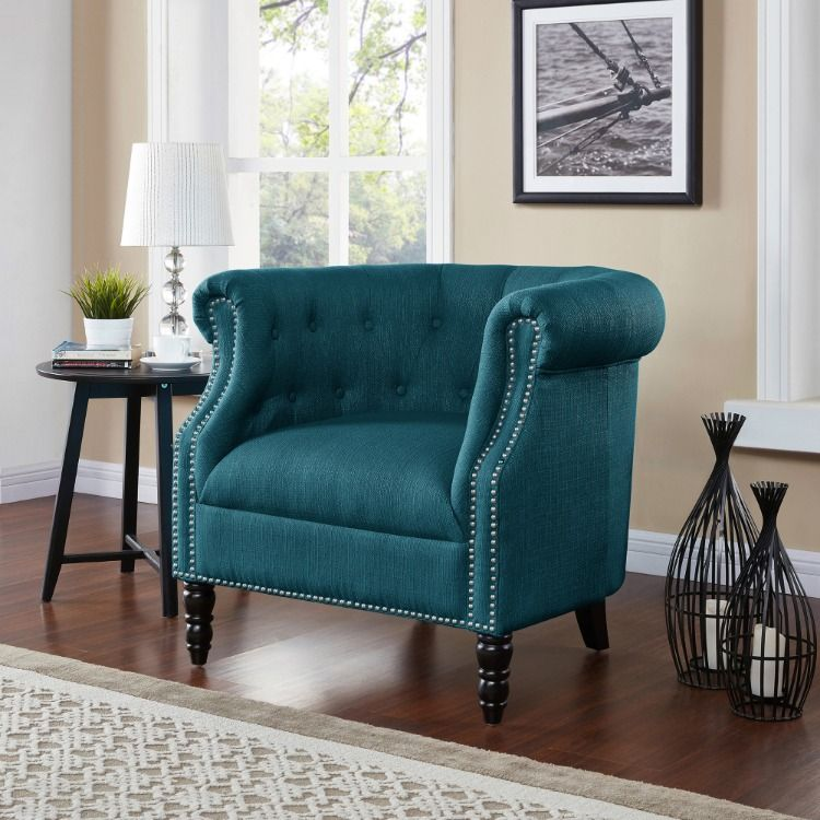 The Traditional Club Chair In Teal Club Chairs Living Room