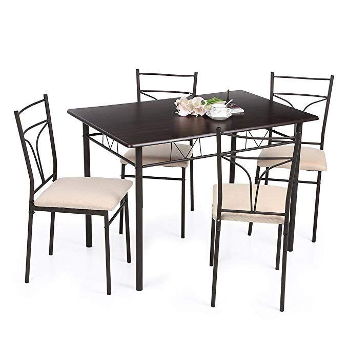 Amazon Com Ikayaa 5pcs Table And Chairs Set 4 Person Metal