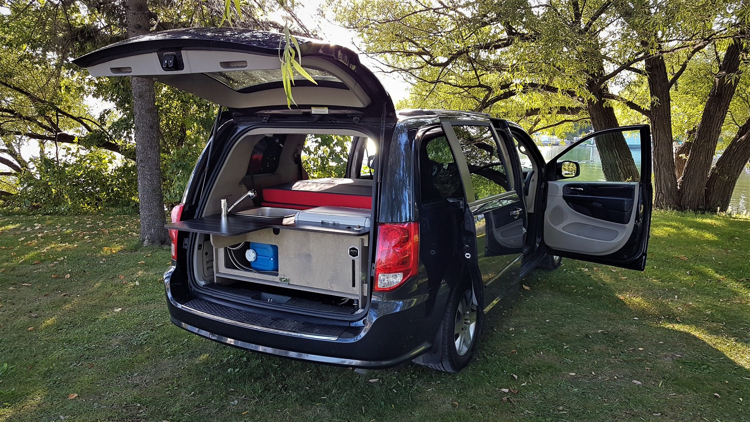 Camper Van Kit Installed In A 2012 Dodge Grand Caravan Freeway