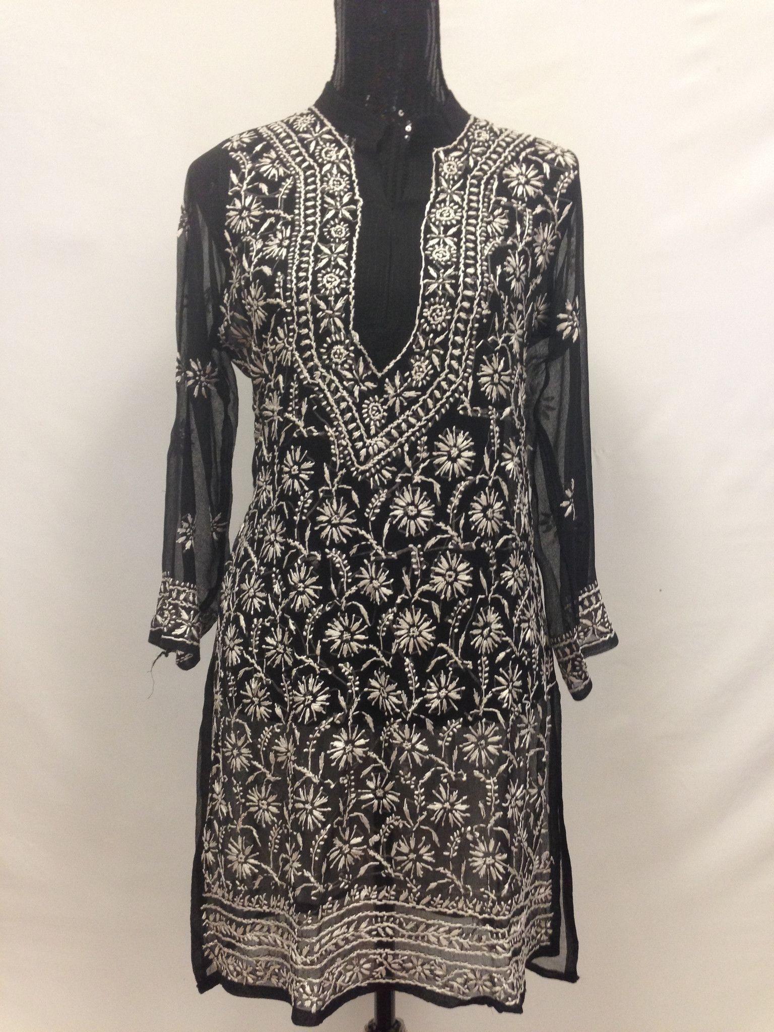 b59f741ab86 Lucknowi Embroidery Long Kurti - Black & White Lucknowi Kurta, Kurti, Women  Tunic,