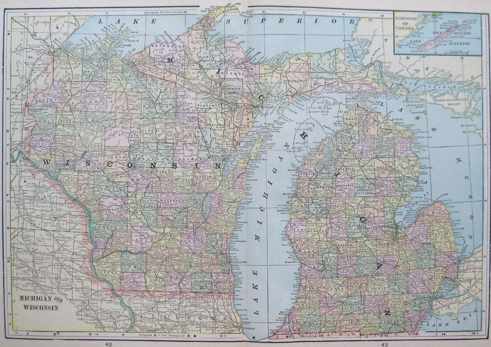 Antique MICHIGAN Map WISCONSIN Map Vintage S Map Of - Map of wisconsin and michigan
