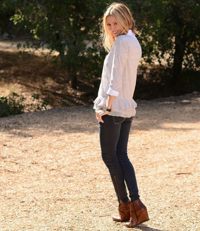 fall layers, wedge booties