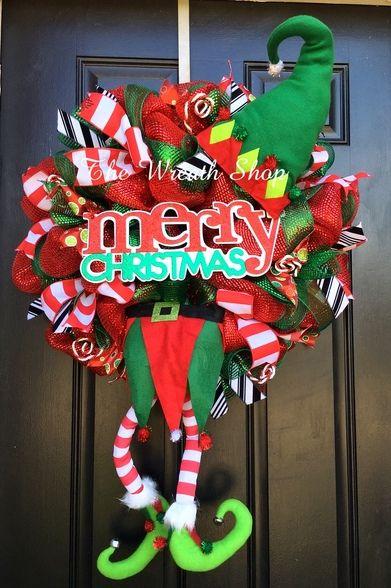 Merry Christmas Jester Elf Wreath - Red/Emerald Green Merry