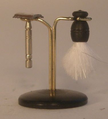 Safty Razor & Brush on Stand by St.Leger - $70.00 : Swan House Miniatures, Artisan Miniatures for Dollhouses and Roomboxes