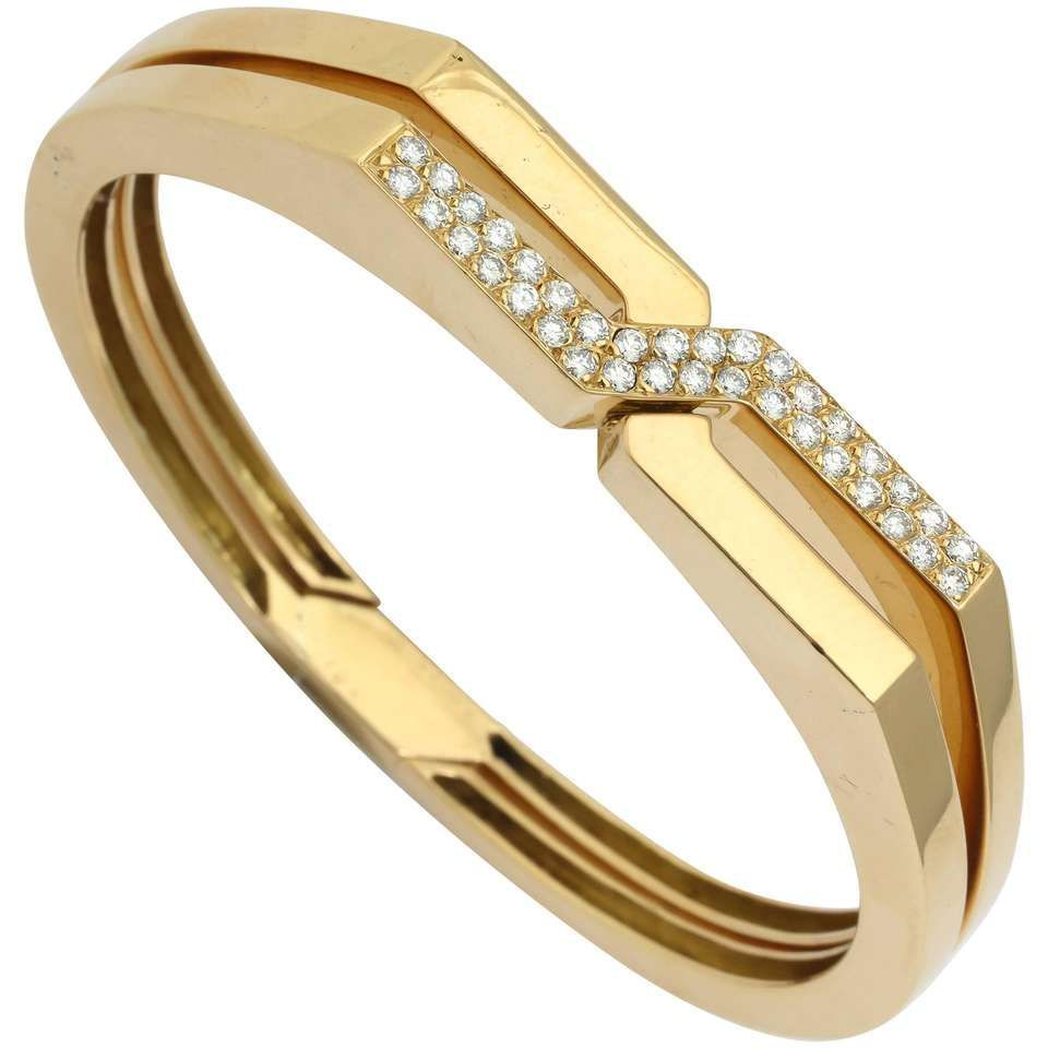S van cleef u arpels diamond gold handcuff slipon bangle
