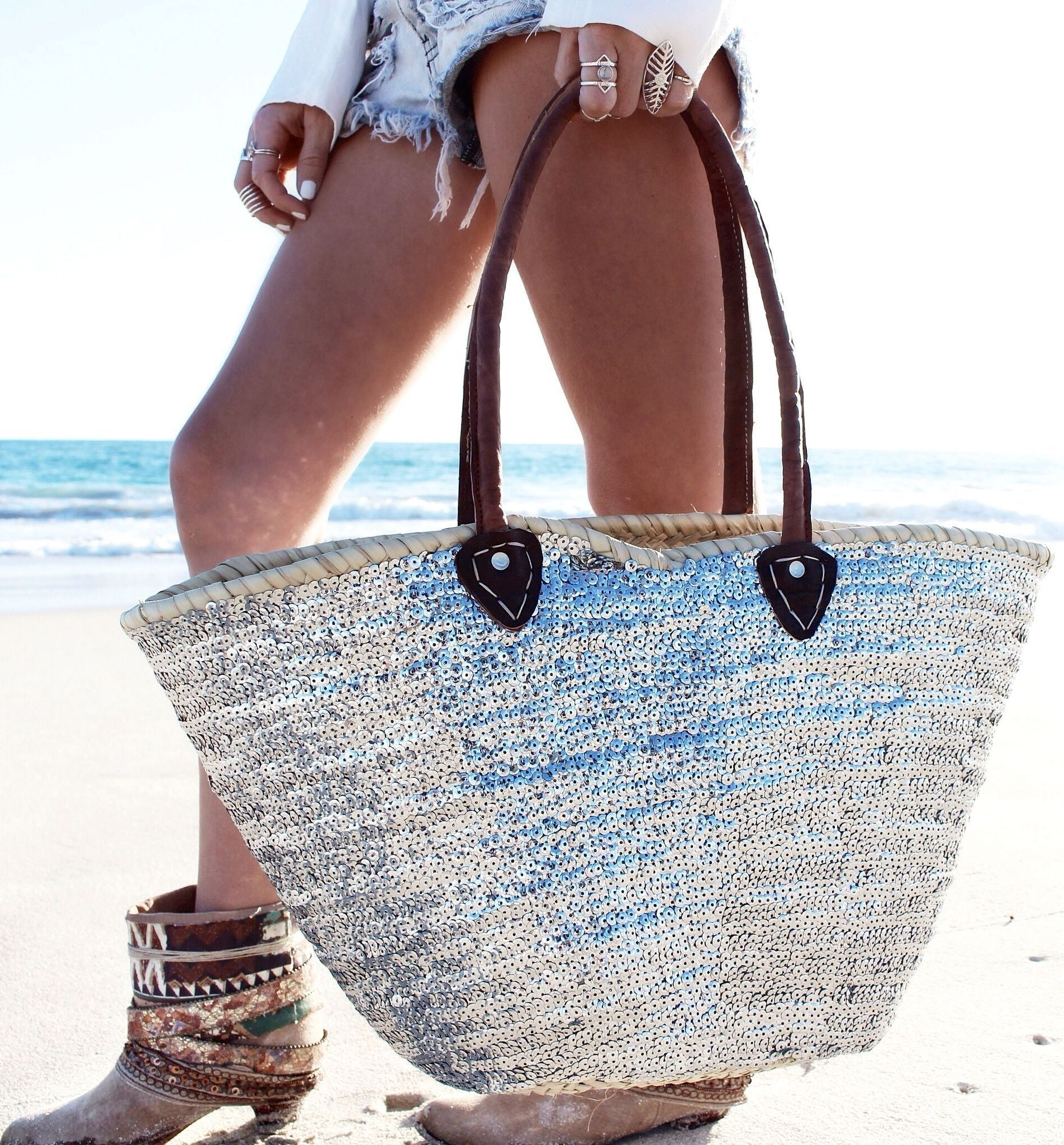 Metallic Silver Sequin Beach Tote by Gypsy Lovin Summer | Handbags ...