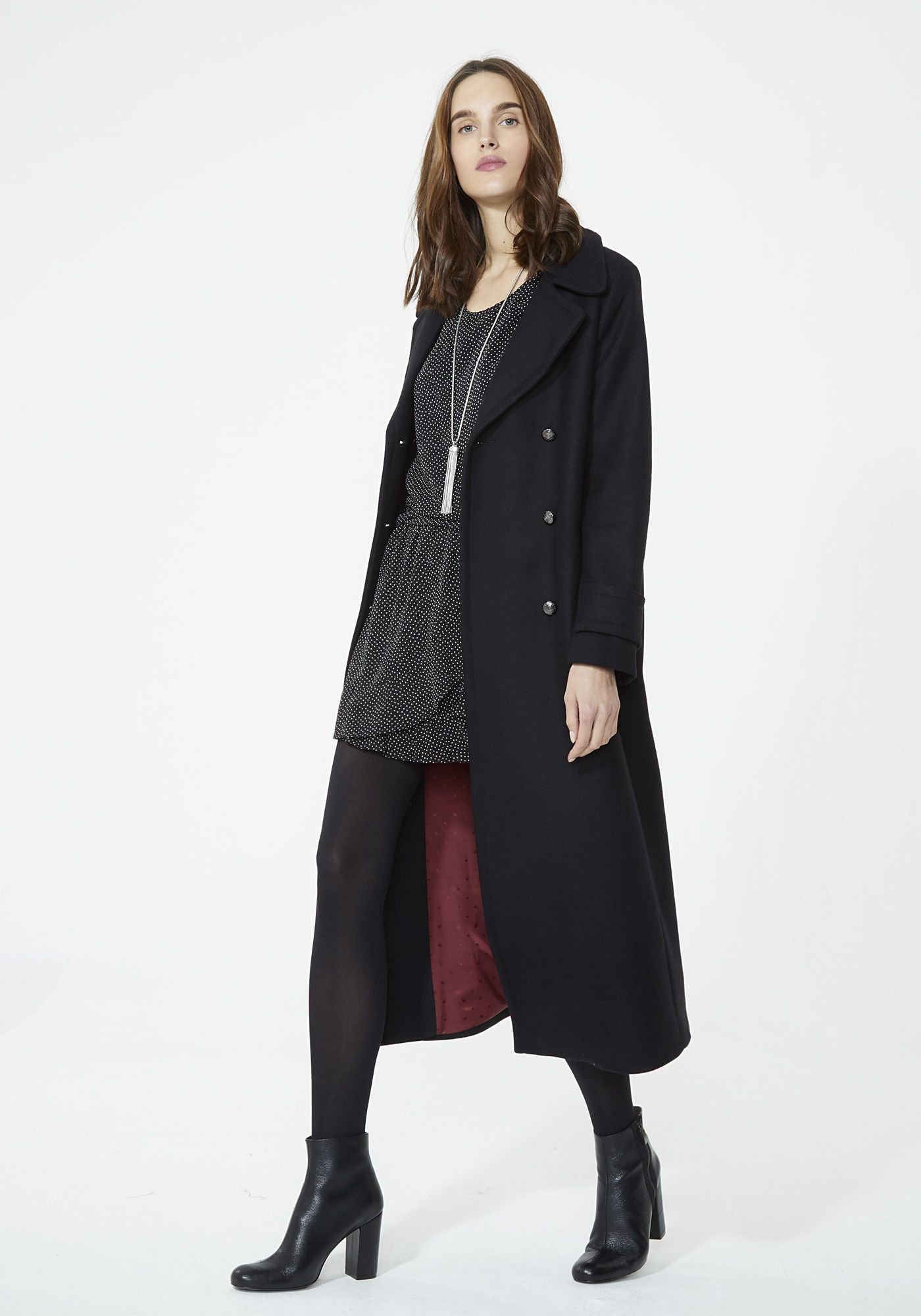 grossiste 05204 0ccfb Manteau long noir femme IKKS | Mode Automne Hiver Manteau ...