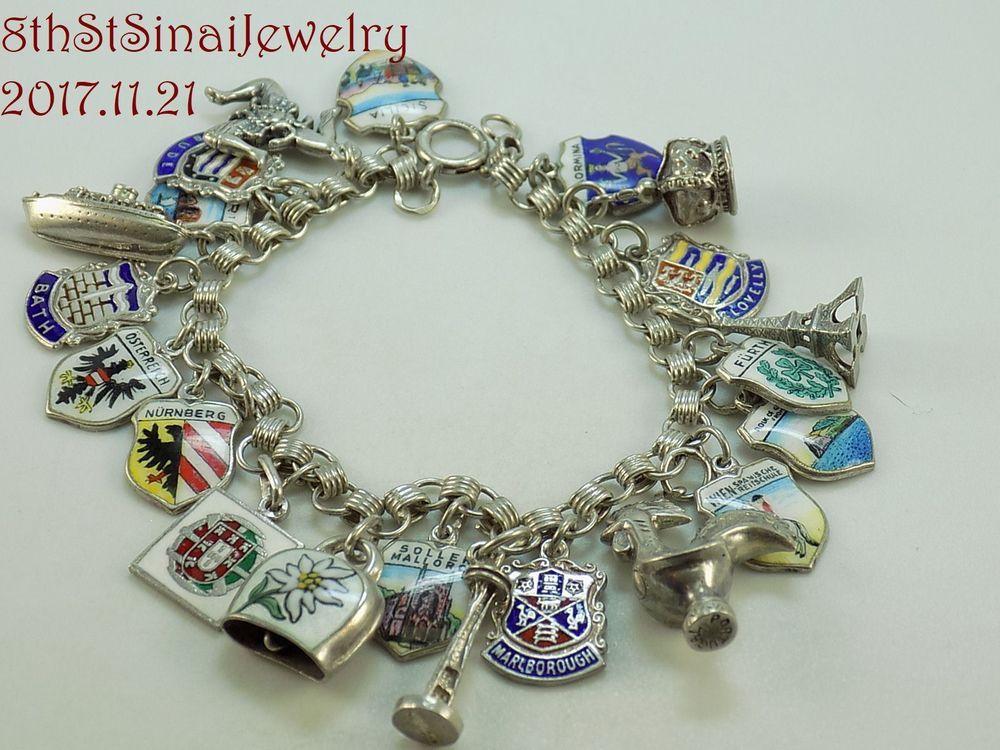 Estate Sterling Silver Charm Bracelet W 21 Travel Charms Some Enamel 800