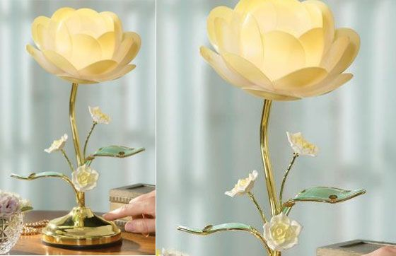 And Flower Art Glass Accent Lamp Blossom Desk And Table Touch Lamp.