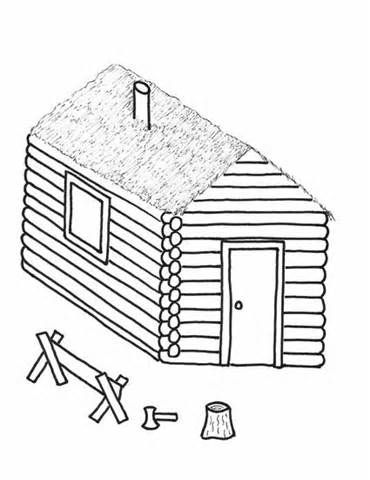 Log Cabins Easy Coloring Pages Easy Coloring Pages Coloring Pages Bee Coloring Pages