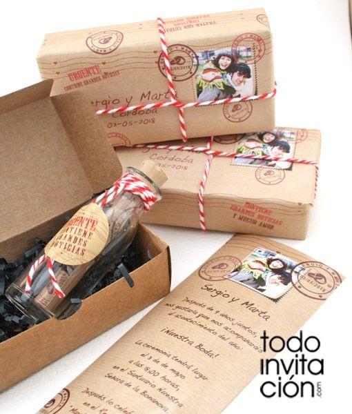 invitacion de boda original mensaje en botella boda Pinterest - invitaciones para boda originales