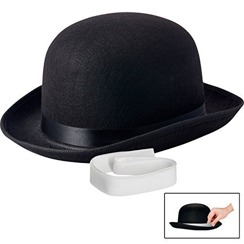 Black Derby Hat 2 Pack Dress Up Funny Party Hats Bowler Hats Costume Hats for Adults