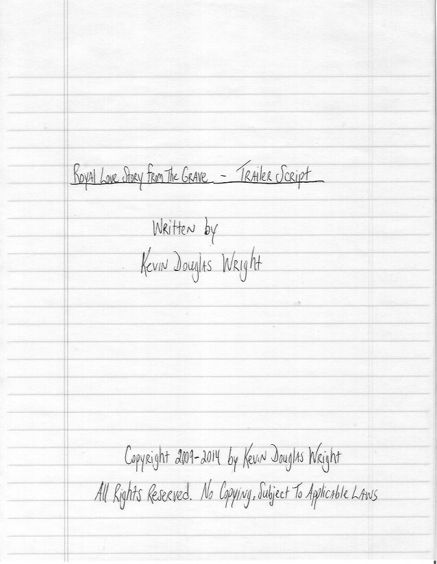 Hand-Written Sample Screenplay - Title Page of Royal Love Story From