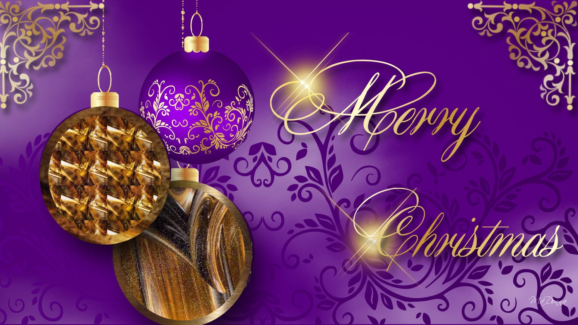 Christmas Purple And Gold Wallpaper