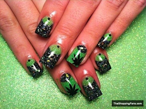 Weed Nails     Pinterest   Them, Weed and I love