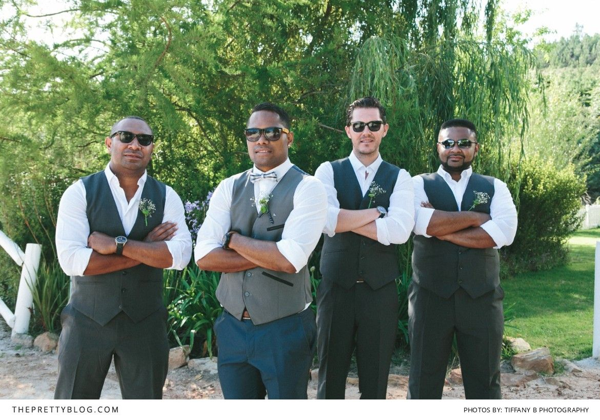 Dressing your groomsmen in tailored suits & trousers - A must! | Hair & Make-up: Ida Webster | Wedding Dress: Magda Grove | Bouquets: Flowers in the Foyer | Venue: Old Mac Daddy | DJ: Baha Entertainment | Photographer: Tiffany B