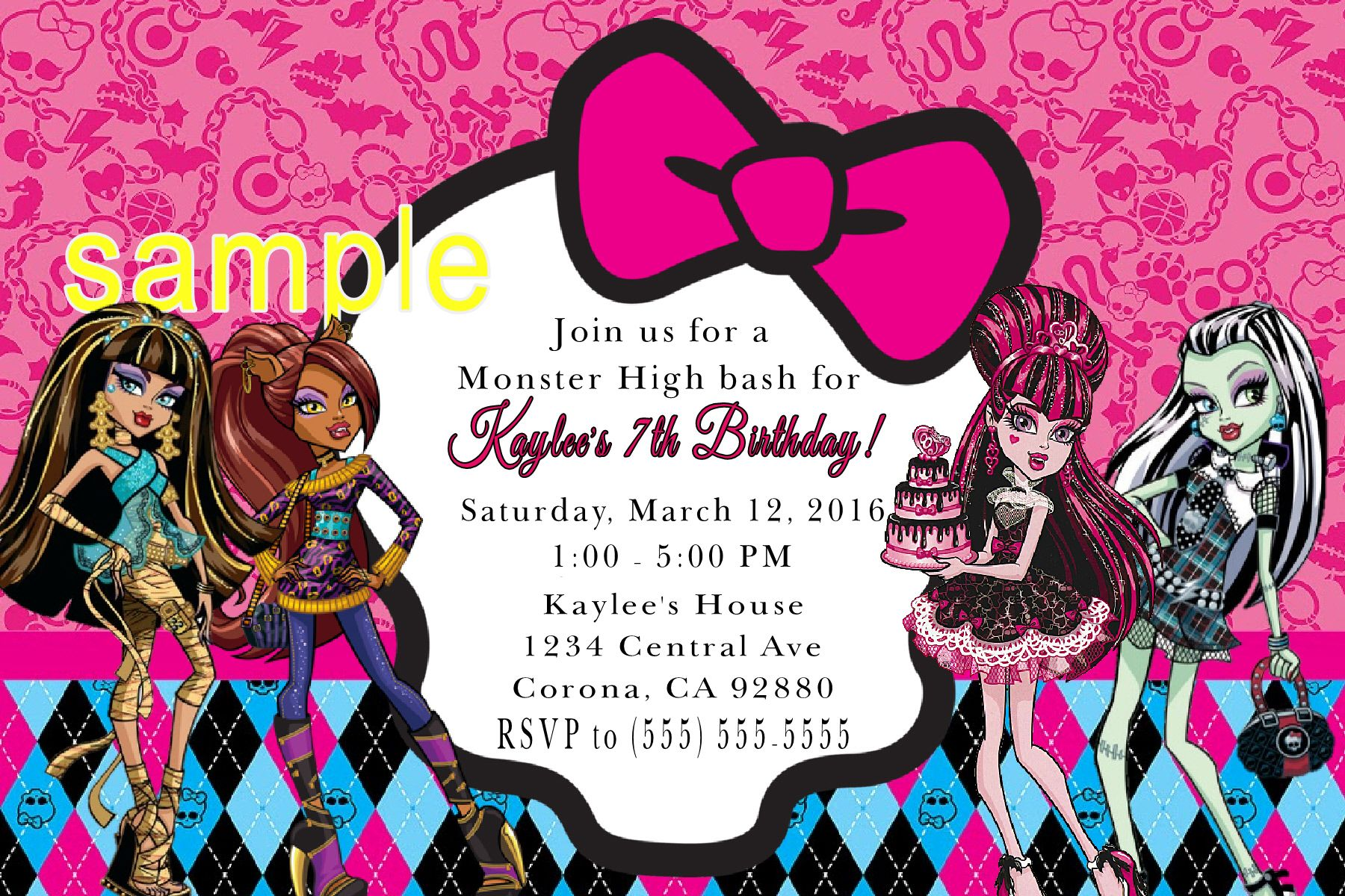 Monster High Birthday Invitation. Click on the image twice to place orders or follow me on facebook. or email me at the address in BIO.