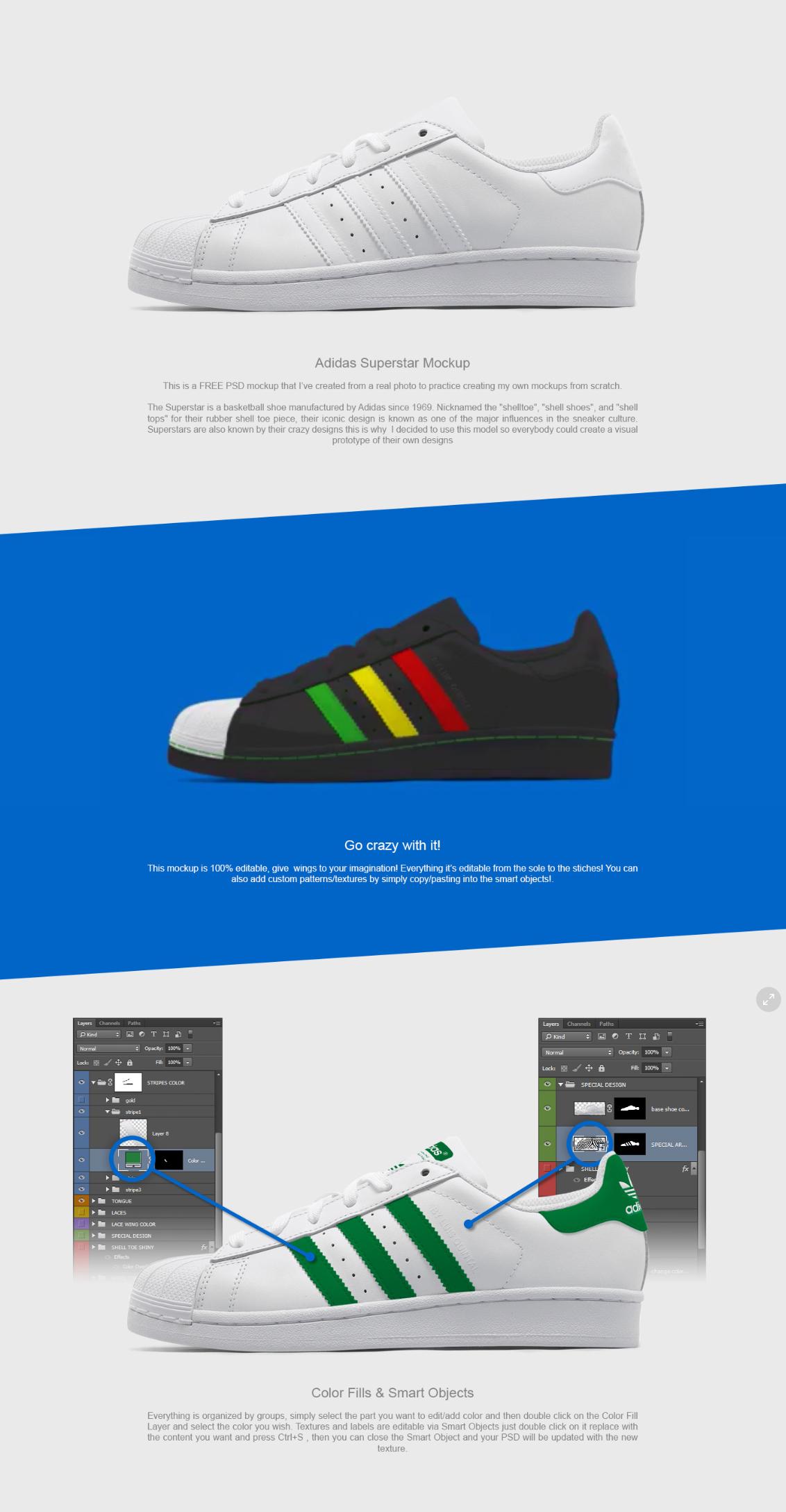 Download Adidas Superstar FREE PSD Mockup | Adidas superstar ...