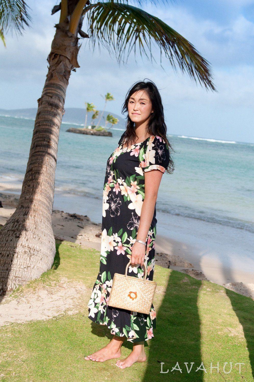 68af0ff758759 Pebble Black Malama Hawaiian Dress   Top 100 Hawaiian Dresses We ...