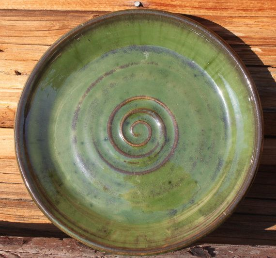 Pottery Plate Wheel Thrown Handmade Deep Sea by PoetryinPottery, $32.00