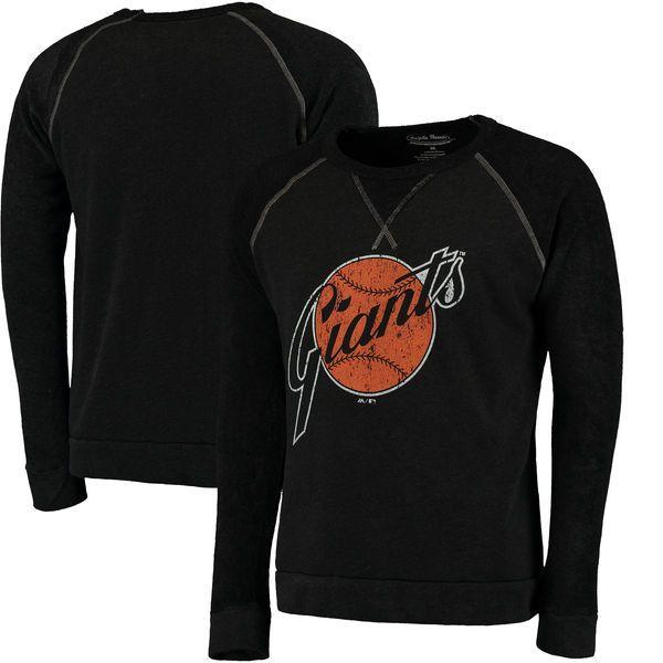 San Francisco Giants Majestic Threads Vintage Terry Crew Raglan Sweatshirt - Black - $59.90