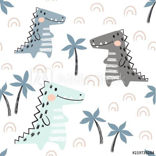 Crocodile baby seamless pattern. Dinosaur scandinavian cute print. #dinosaurillustration