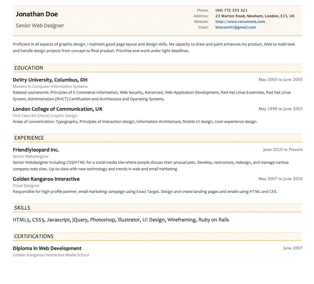 Concise Resume Template from Resumonk - http://www.resumonk.com ...