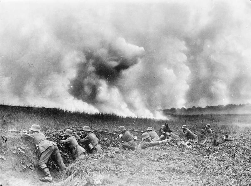 Storm Troops Manning A Trench Behind A Smoke Screen Near