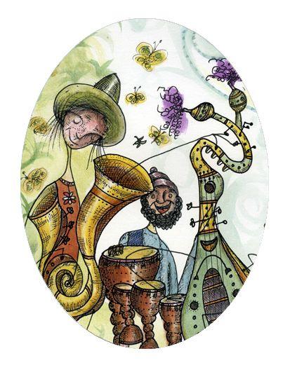 Musicaldia II. Tintas, rotuladores sobre papel. By Carlos Medel