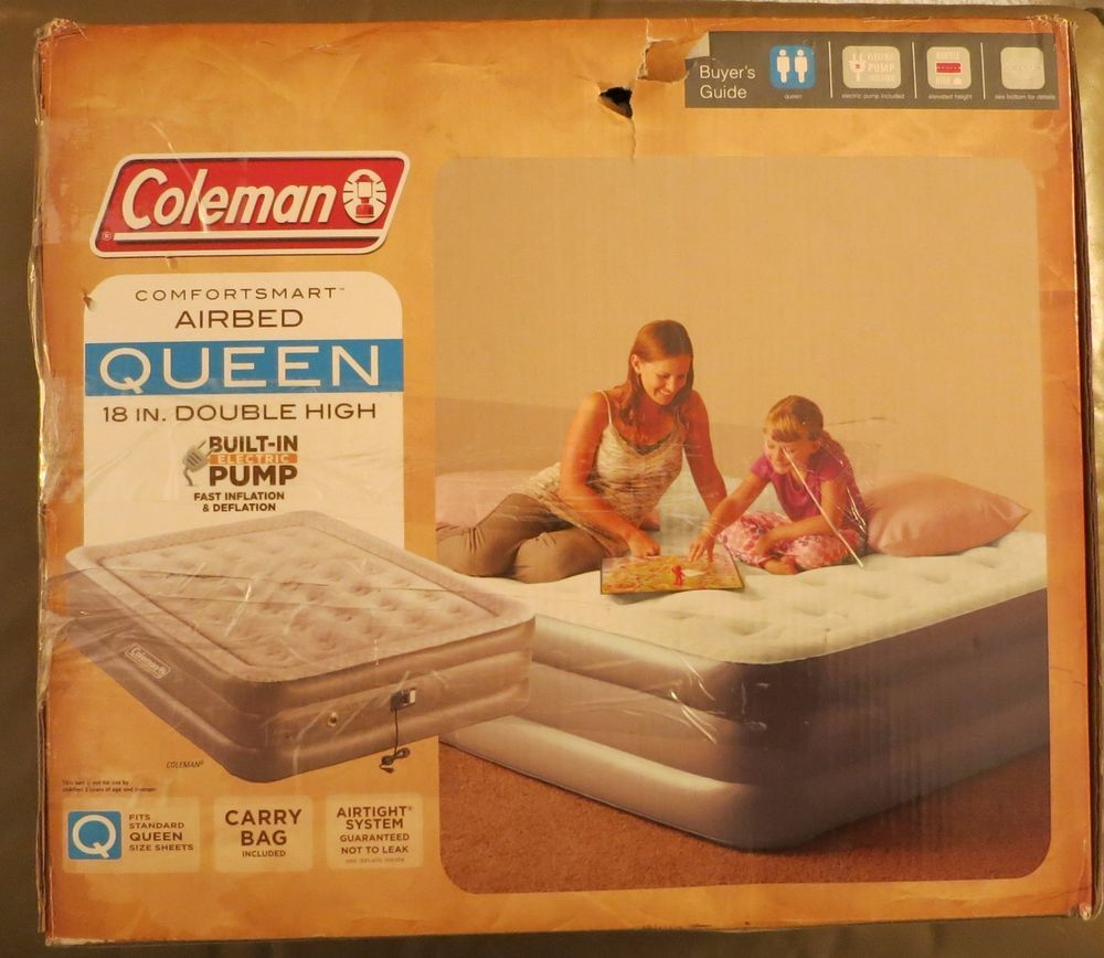 coleman queen airbed double high mattress air bed builtin electric pump blowup