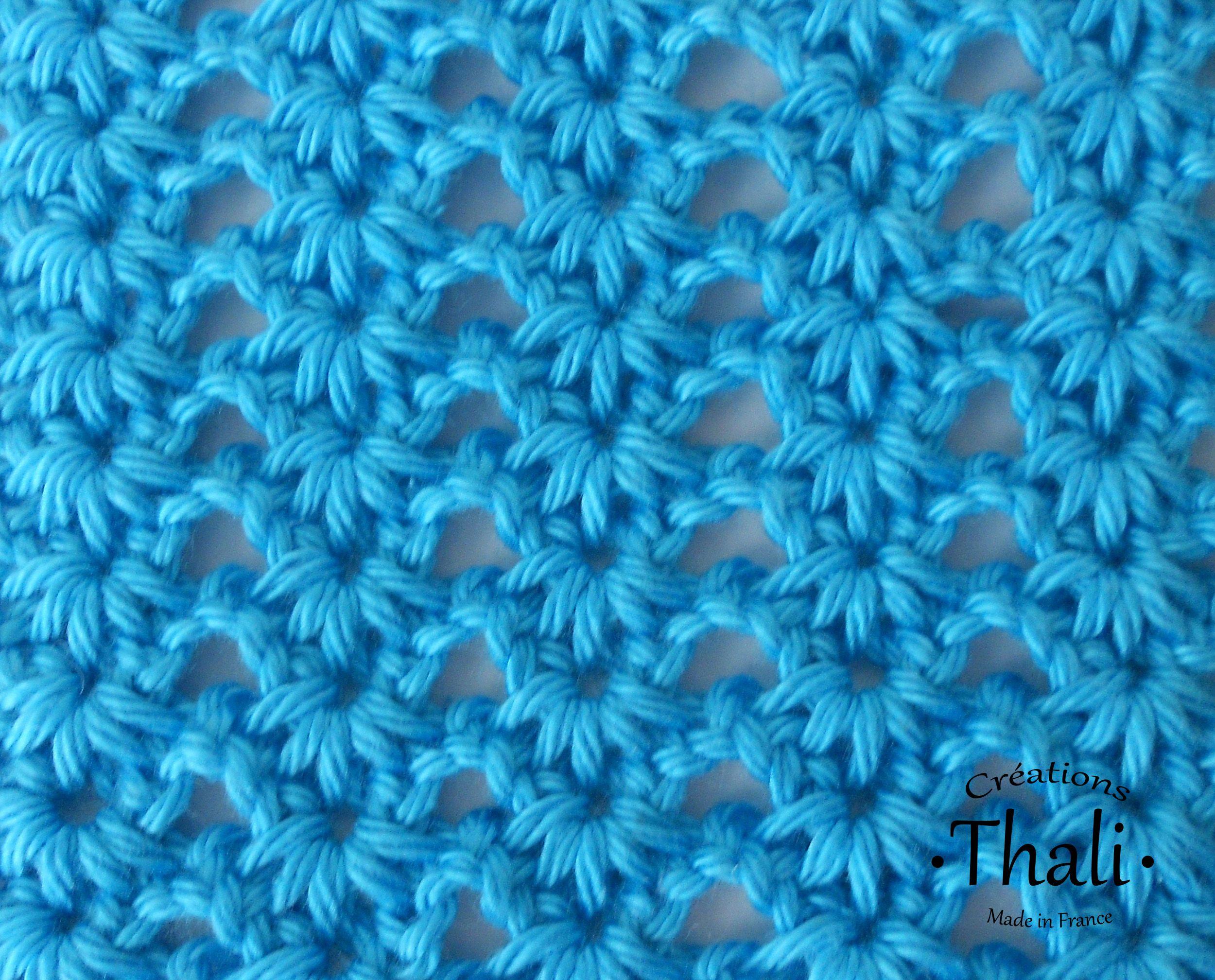 Un joli point r aliser au crochet tunisien dans le m me esprit que le point pinteres - Point tricot facile joli ...