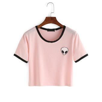 59a4a932f099ca ALIEN CUTE CROP TOP Women T-Shirt Homies Boobs Tumblr Fashion ...