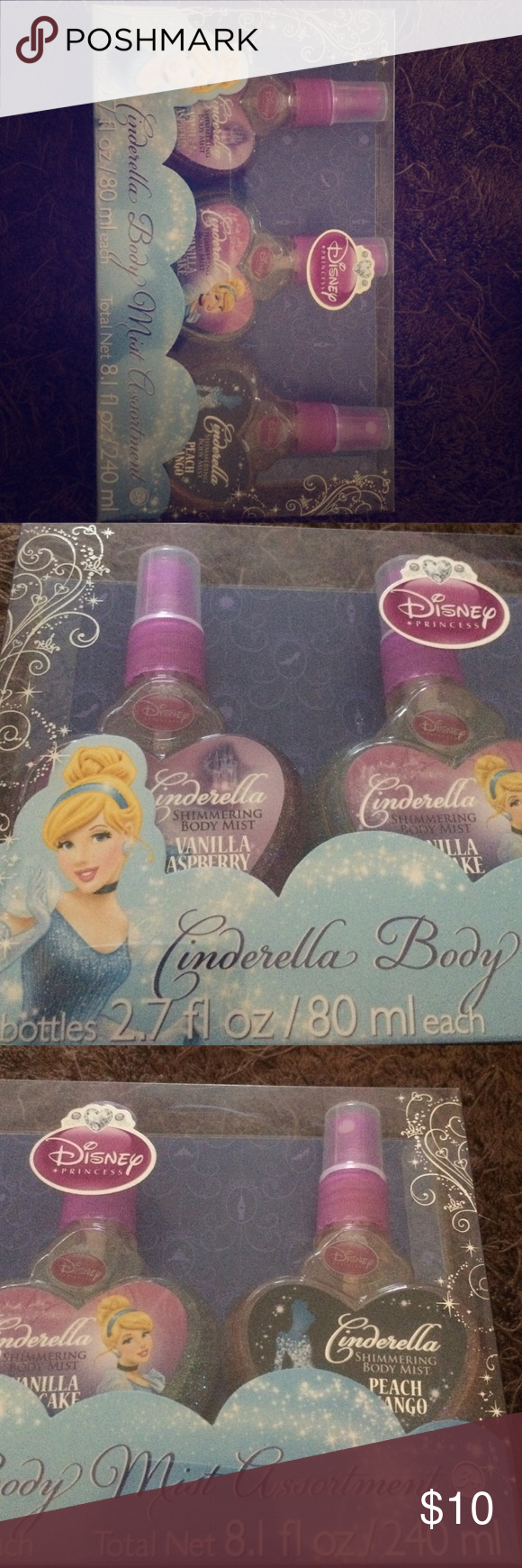 Disney Cinderella Shimmering Body Mist 3 2.7fl oz bottles of shimmering body mist. The bottles feature Disney Princess Cinderella. New, never been used and come in the original packaging. Great gift for princesses of all ages. Disney Other