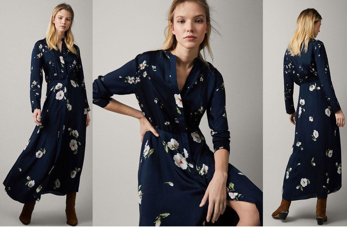 Massimo Dutti Floral Print Cupro Dress Cupro Dress Jumpsuit Dress Dresses