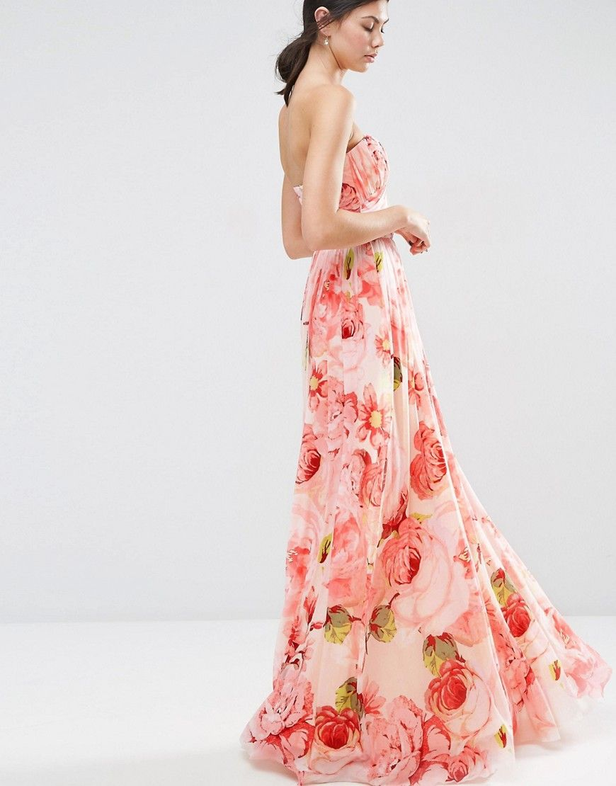 Floral print ruched bandeau dress for the bridesmaids | Favorite ...